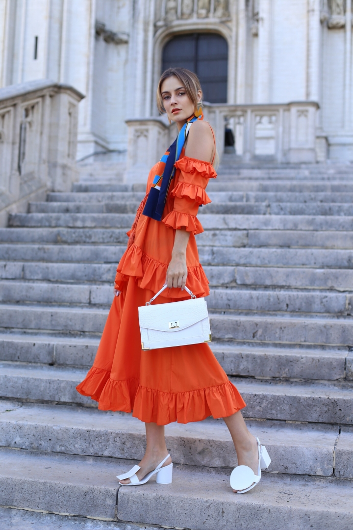 Orange ruffle