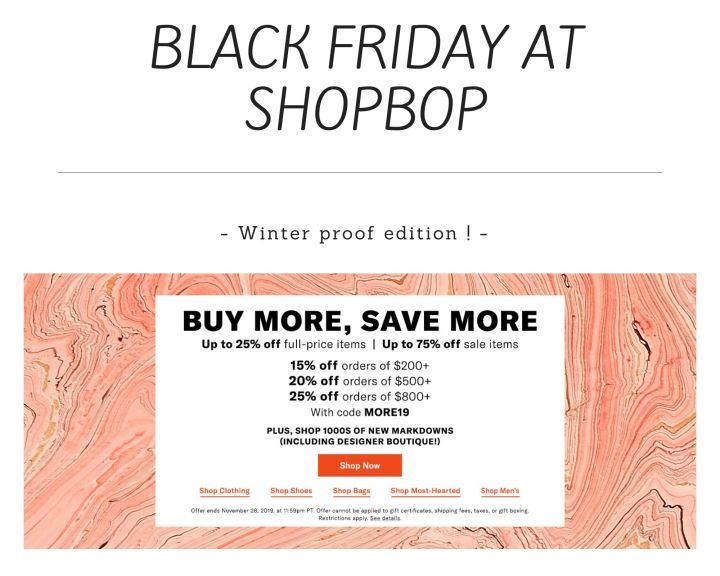 Black Friday at Shopbop